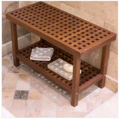 Large Teak Wood Shower Bench Stool Seat Bath Spa Shelf Storage Indoor Outdoor