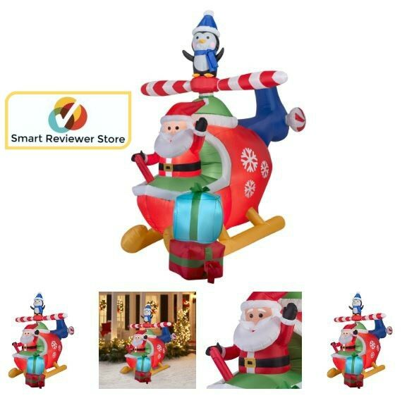 Airblown Inflatables Christmas Inflatable Santa And Penguin In Helicopter