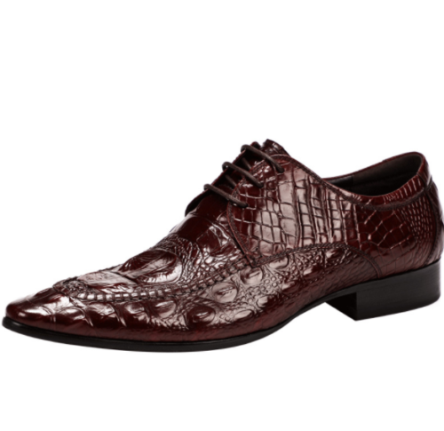 Mens Real Leather Business Leisure Shoes Pointy Toe Oxfords Crocodile pattern L