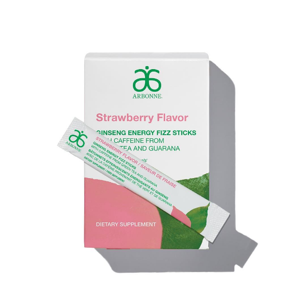 Arbonne Ginseng Energy Fizz Stick - Strawberry Flavor (30 Stick Packs)#2111