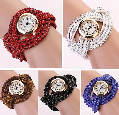 New Fashion Women Crystal Multilayer Leather Bracelet Quartz Analog Wrist Watch  ()