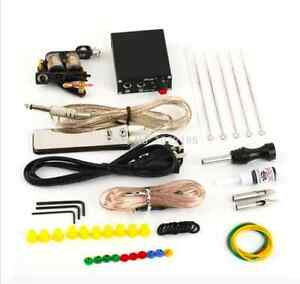 Complete Tattoo Kit Machine Gun Color Ink Power Supply Needles