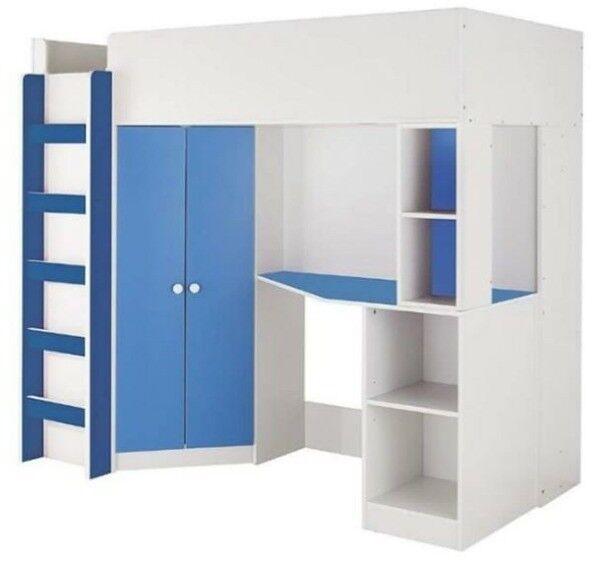new arrival e66f7 48743 Kidspace New Metro High Sleeper Bed, Desk, Wardrobe & Shelves *FRAME  ONLY*BLUE* H172.5, W106, L194cm | in Gorton, Manchester | Gumtree