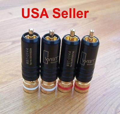 4pcs WBT-0144 Gold Plated RCA Locking Plugs Audio Video Connectors
