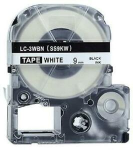 Weekly Promo! Epson LC-3WBN LabelWorks Standard LK Label Tape, 9mm, Black On White, SS9KW,  Compatible