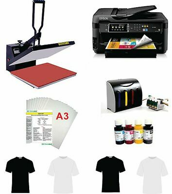 16x20 T-shirt Heat Press Machine Epson Printer 7710 11x17 Ciss Kit