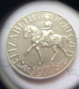 1977 Queen Elizabeth II Silver Jubilee  Crown Coin