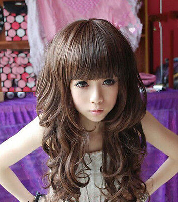 Long Brown Curly Wig Halloween (Halloween Womens Long Curly Wavy Hair Synthetic Anime Cosplay Wig Full Brown)