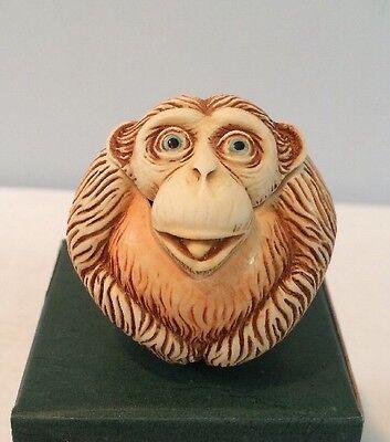 """NEW Harmony Kingdom 2000 Monkey Roly Poly #TJRPMO """"Dizzie"""" Rare Retired NOS NIB"""
