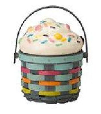 Longaberger 2017 Sidekick Cupcake Basket w/ lid choice White warm brown or multi