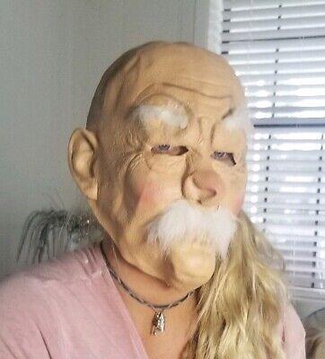 MASK HALLOWEEN COSTUME ADJUST White Man Hair Wrinkle Chinese Adult Old Bald NWOT](Bald Man Halloween Costumes)