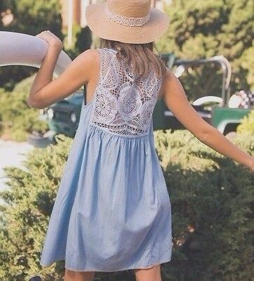 New Anthropologie Womens Denim Blue Button Front Lace Summer Tunic Dress Small