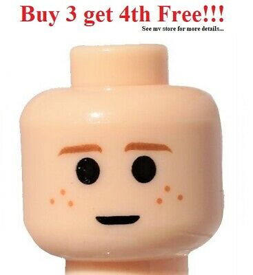 ☀️NEW Lego Minifigure Head Light Flesh Brown Eyebrows Freckles Large Eyes  Light Large Head