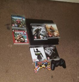 Ps3 with customised controller and normal controller with 6 games
