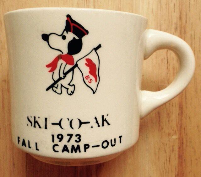1973 SNOOPY BOY SCOUTS OF AMERICA TIDEWATER COUNCIL COFFEE MUG, VIRGINIA, VA