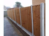 New garden featheredge fence, 6ft high, concrete posts and gravelboards, £95