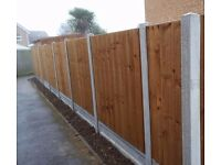 30ft featheredge fence, 6ft high, concrete posts and gravelboards, £500