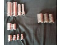 "Snap On Sockets 1/4"", 3/8"" & 1/2"" (WILL SELL SEPARATELY)"