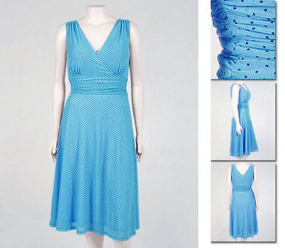 NEW!  Zaftique PERFECT POLKA DOT Dress TURQUOISE Blue 0Z 1Z / 14 16 18 / L XL 1X Perfect Polka Dot Dress