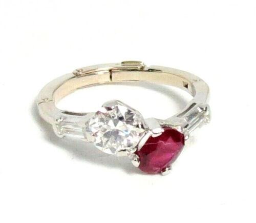 ANTIQUE, Toi Et Moi DIAMOND, RUBY, PLATINUM, 14K GOLD ENGAGEMENT RING