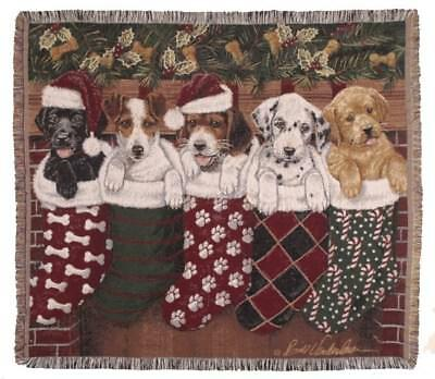 New Christmas Puppies Woven Afghan Tapestry Throw Gift Blanket NIP Holiday (Dogs Tapestry Throw Blanket)