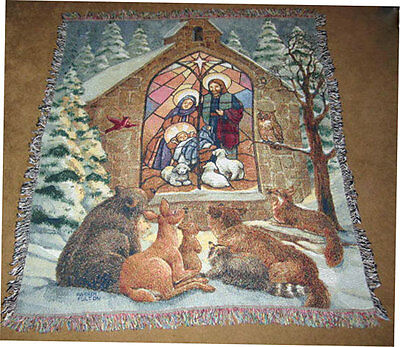Wildlife Afghan (Christmas Nativity w/Wildlife Animals Tapestry Afghan Throw ~ by Parker Fulton )