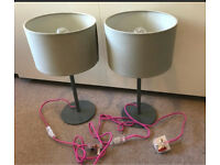 John Lewis pair of grey lamps