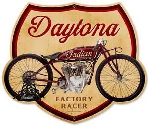 Vintage Daytona Indian Motorcycle Metal Sign Racer Home