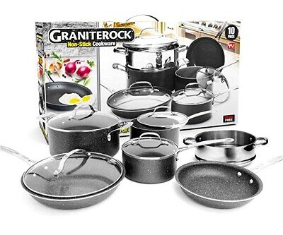 Granite Rock 10 Piece Nonstick Ultra Durable Complete Cookware Set -NEW