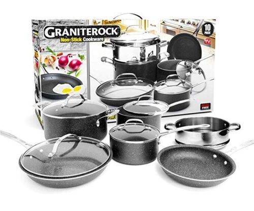 Granite Rock 10 Piece Nonstick Ultra Durable Complete Cookwa