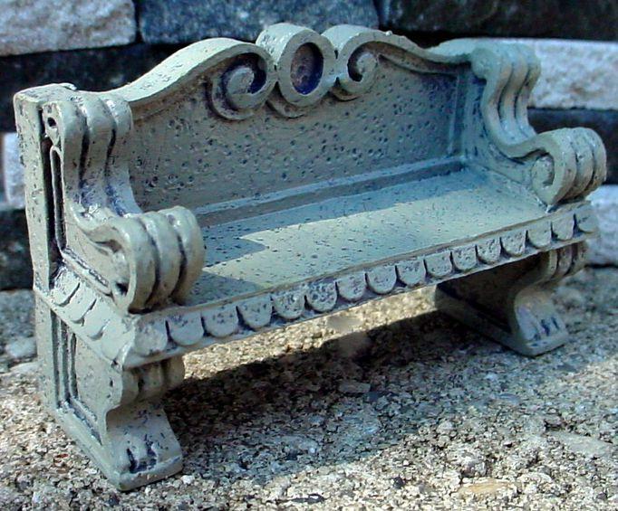 Concrete Garden Bench Miniature 1/24 Scale G Scale Diorama Accessory Item