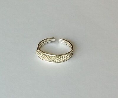 .925 Sterling Silver Adjustable Braid Rope Design Toe Ring New