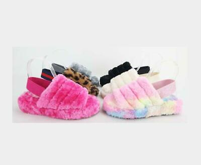 Warmness-02 - Bamboo Vegan Fur Comfy Fashion Slingback Sandal Slides Many Colors