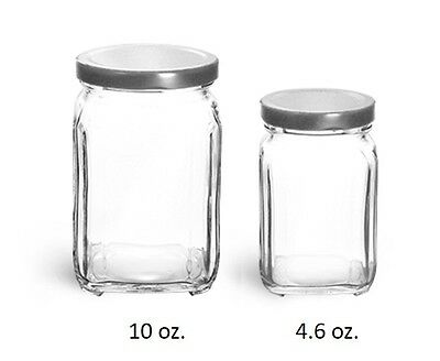 Square Victorian Glass Jars Bulk Pack Set of 12 4.6 oz. w/ WHITE Tin Lid NEW ()