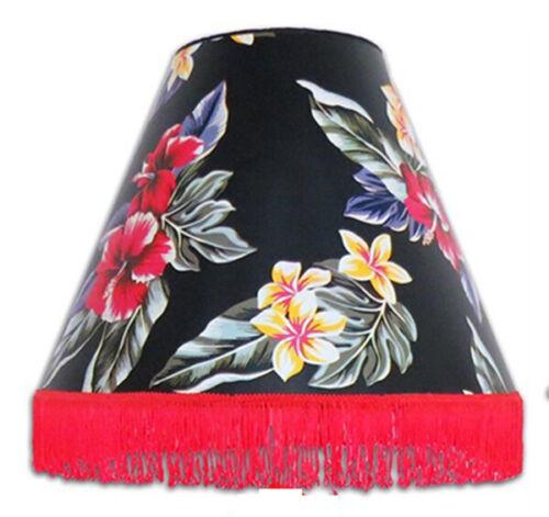 "Hawaiian Lamp Shade Nylon 9""Hx13""D Hawaii Floral Handcrafted Spider Harp Fitter"