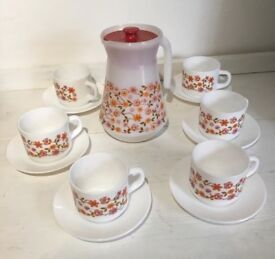 Vintage Coffee Set by Arcopal, France