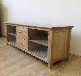 Brand new boxed Contempo Solid Oak Widescreen TV unit with 2 Drawers