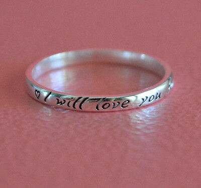 925 Sterling Silver Thin Stackable Heart Message I Will Love You Forever Ring