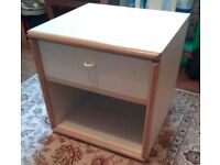 Solid cream bedside table