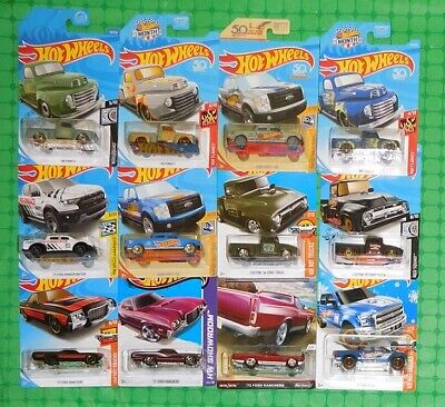Various Years - Hot Wheels - Ford Trucks - Lot of 12 - w/ Zamac Editions