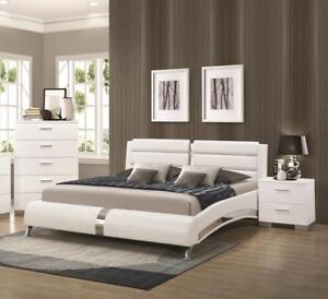 FALL SEASON SALE! White Leather MASTER Bed King or Queen