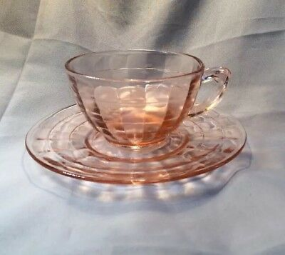 Pink Block Optic With Grey Cut Decor Depression Glass Cup And Saucer Set