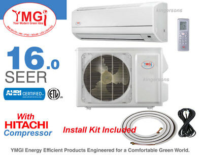9000 BTU YMGI With HITACHI SEER 16 Ductless Split Air Conditioner Heat Pump 110V