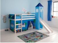 White single mid sleeper children's bed with slide & tent (extra red & blue tent cover)
