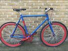 Custom Vintage style single speed Blue & Red No Logo Bike Fixie Fixed gear bicycle