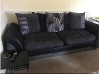 DFS purple and grey 4-seater sofa