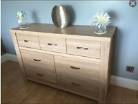 Light oak 7 Drawer Chest and Tall Display Cabinet