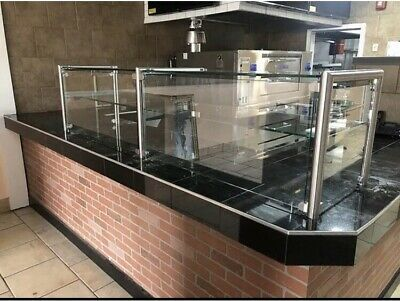 96 8 Ft Pizza Display Case Glass Sneeze Guard Stainless Steel W Shelf