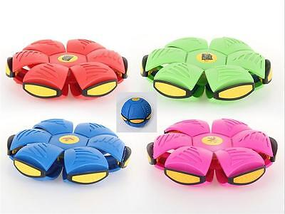 Novelty Flying UFO Flat Throw Disc Ball With Light Toy Phlat Soft Kids Outdoor