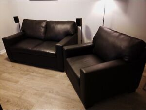 Black Leather Loveseat and Accent Chair